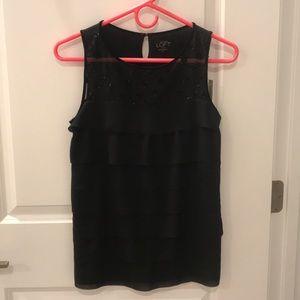Loft Black Sleeveless Blouse with Velvet Details